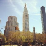 blue skies over Madison Square Park...